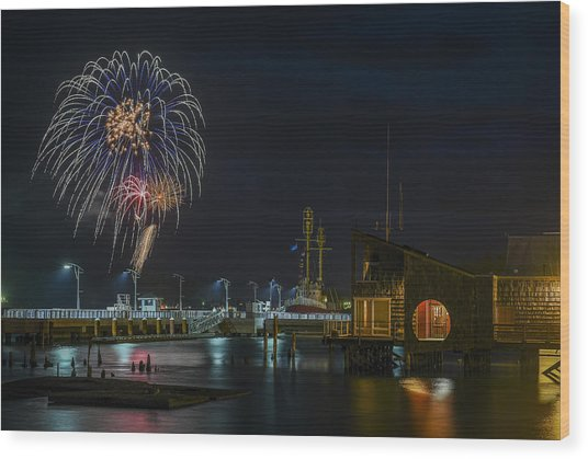 Fireworks And 17th Street Docks Wood Print