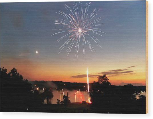 Fireworks And Sunset Wood Print