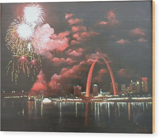 Fireworks At The Arch Wood Print