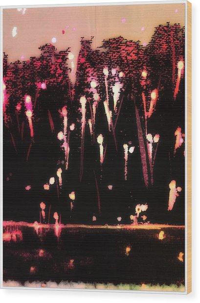 Fireworks Wood Print by Cooky Goldblatt