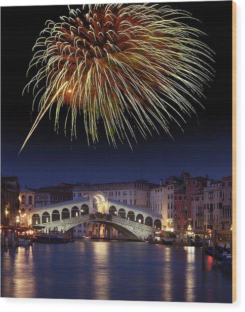 Fireworks Display, Venice Wood Print by Tony Craddock