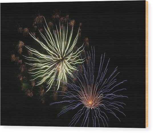 Fireworks From A Boat - 14 Wood Print