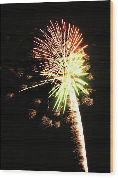 Fireworks From A Boat - 9 Wood Print