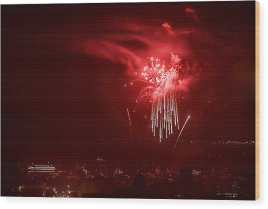 Fireworks In Red And White Wood Print