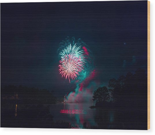 Fireworks In The Country Wood Print
