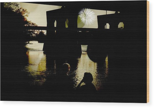Fireworks On The River Wood Print