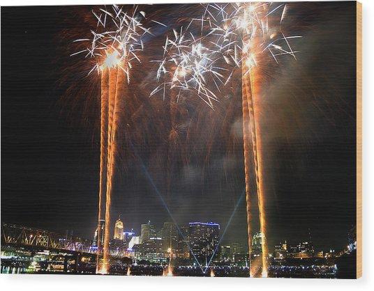 Fireworks Over Cincinnati Wood Print