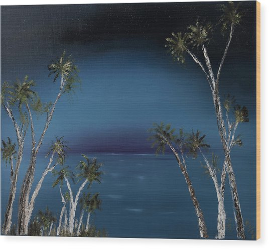 Fireworks Palms Wood Print