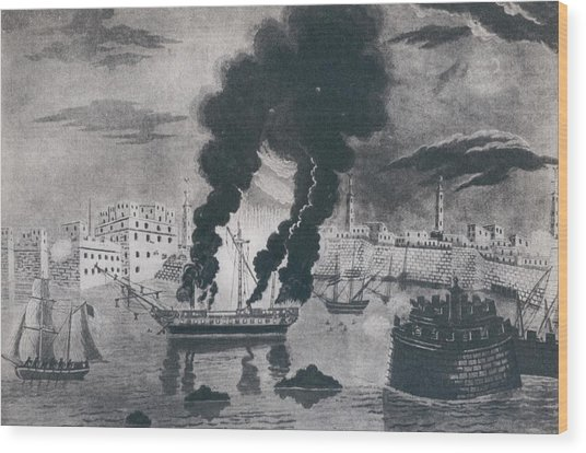 First Barbary War 1801-1805. Burning Wood Print by Everett