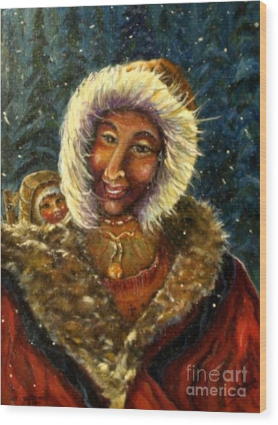 First Christmas Snow Wood Print