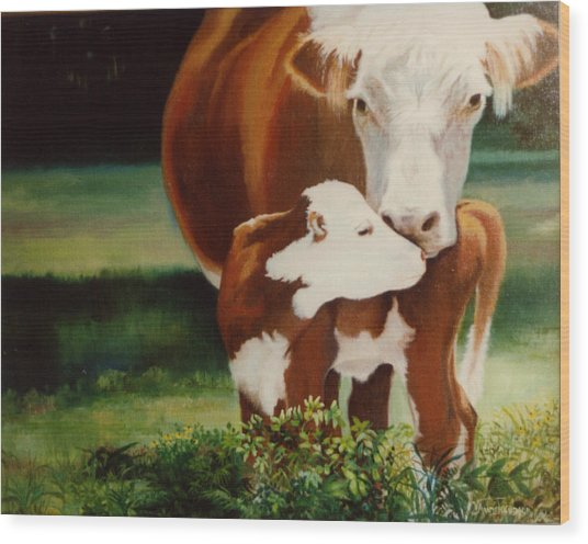 First Kiss Wood Print by Valerie Aune
