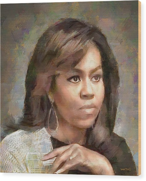 First Lady Michelle Obama Wood Print