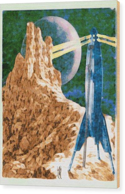 First Landing On Triton Wood Print