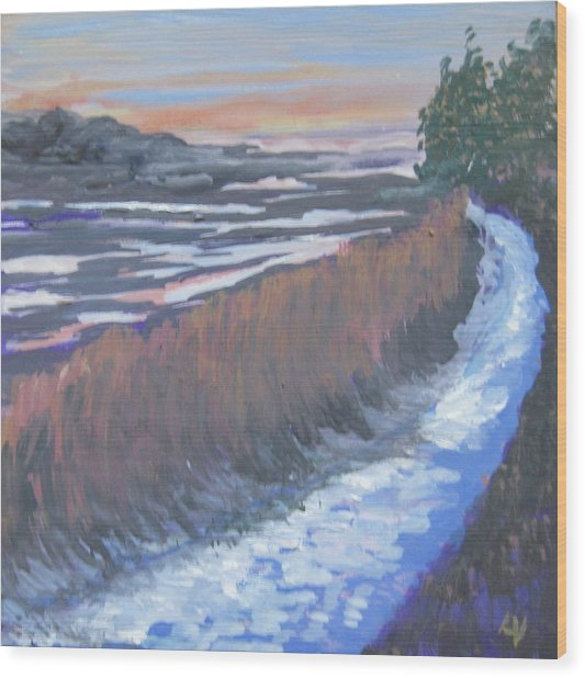 First Light At Newharbor Wood Print by Lynne Vokatis