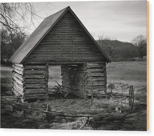 First Light At The Barn In Black And White Wood Print