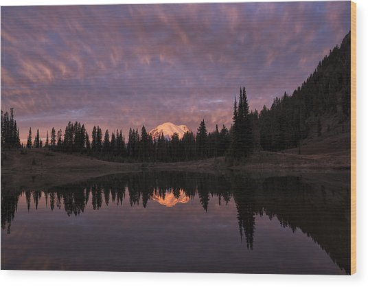 First Light On Mount Rainier Wood Print