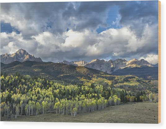 First Light On The Sneffels Range Wood Print