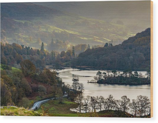 First Light Over Rydal Water In The Lake District Wood Print