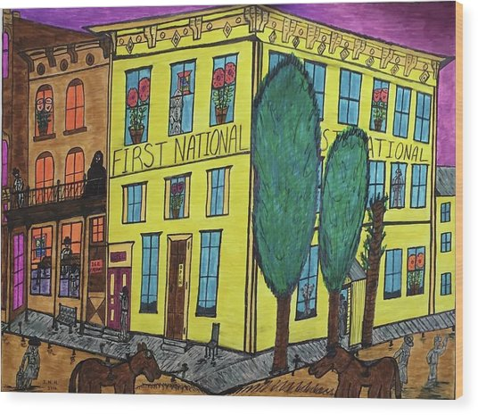 First National Hotel. Historic Menominee Art. Wood Print