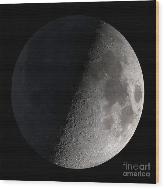 First Quarter Moon Wood Print