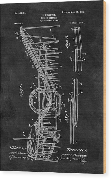 First Roller Coaster Patent Wood Print