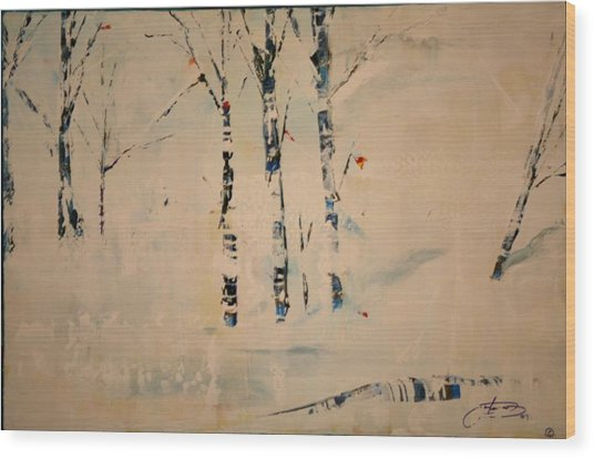 First Snow Central Park Wood Print