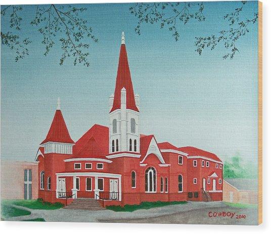 First United Methodist Church  Terrell Tx Wood Print by Darren Yarborough