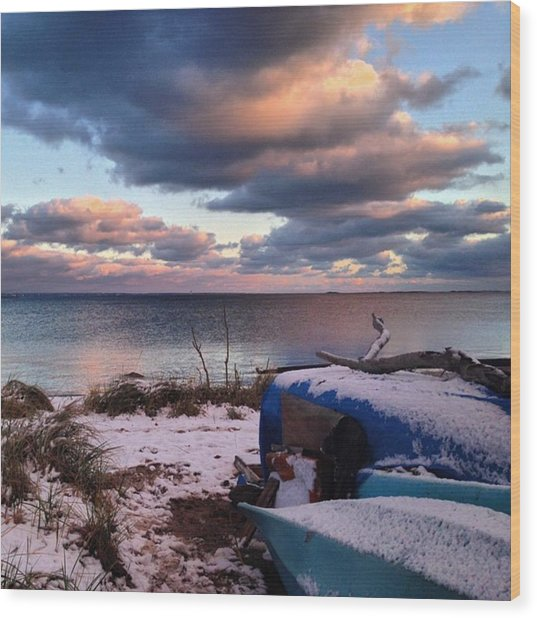 #firstsnow #provincetown Wood Print by Ben Berry