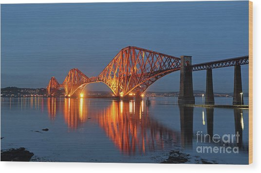 Forth Bridge At Twilight Wood Print by Maria Gaellman