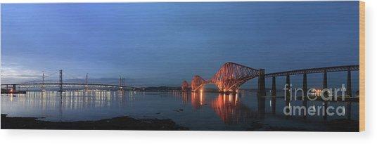 Firth Of Forth Bridges At Twilight - Panorama Wood Print by Maria Gaellman