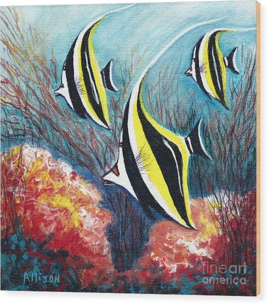 Moorish Idol Fish And Coral Reef Wood Print