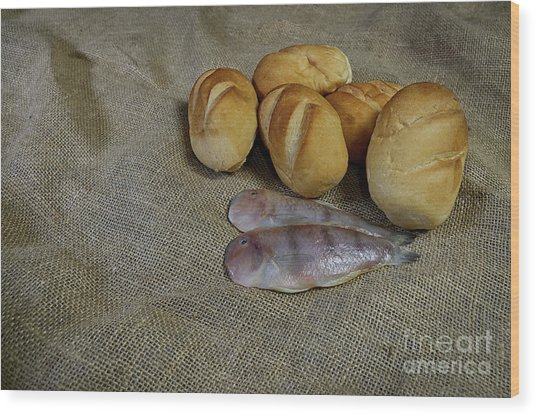 Fish And Loaves Wood Print