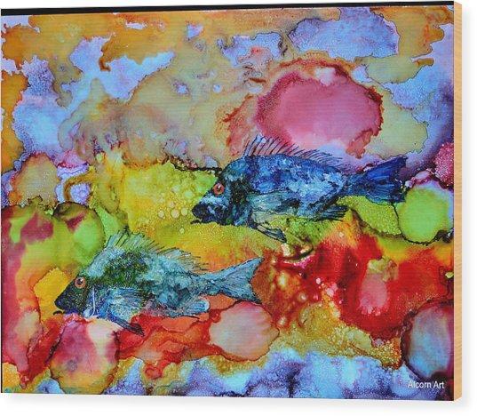 Fish At Sunset Wood Print by Brenda Alcorn