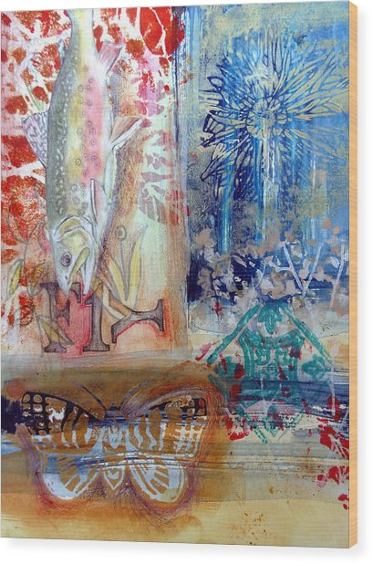 Wood Print featuring the mixed media Fish Collage #1 by Rose Legge