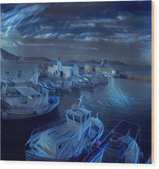 Fish Harbour Paros Island Greece Wood Print