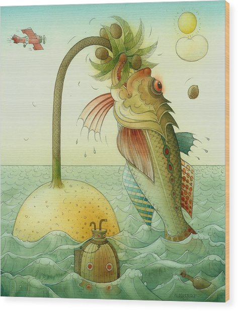 Fish Wood Print by Kestutis Kasparavicius