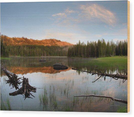 Fish Lake Sunrise Wood Print by Leland D Howard
