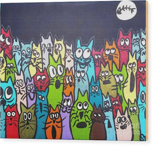 Fish Moon Cats Wood Print