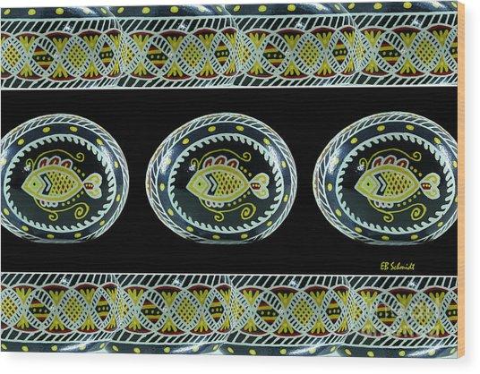 Fish Pysanky Black Wood Print