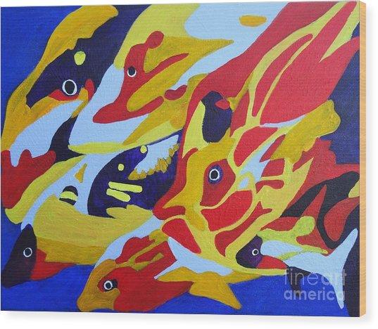 Fish Shoal Abstract 2 Wood Print