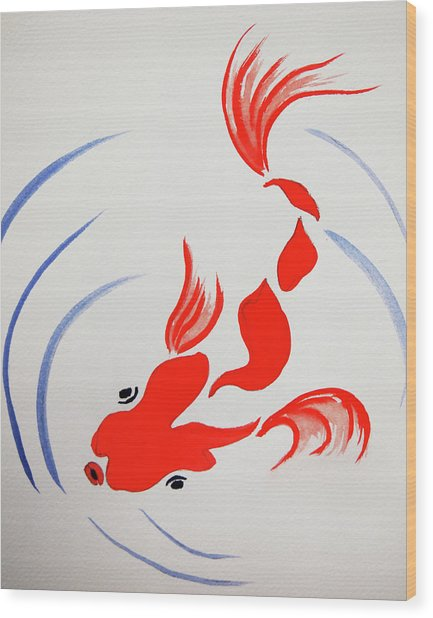 Fish Swish Wood Print