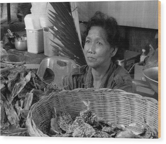 Fish Vendor Wood Print