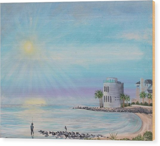 Fisher Man At Breach Inlet Wood Print