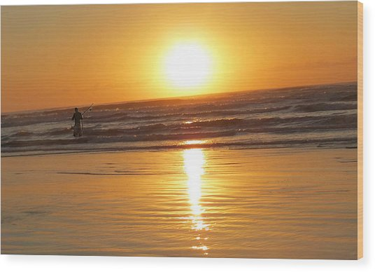 Fisherman At Sunrise Wood Print