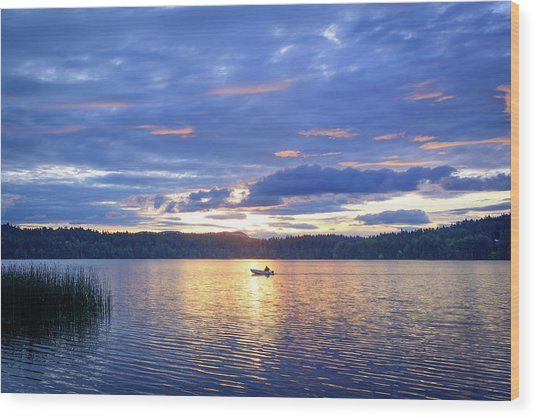 Fisherman Heading Home Wood Print