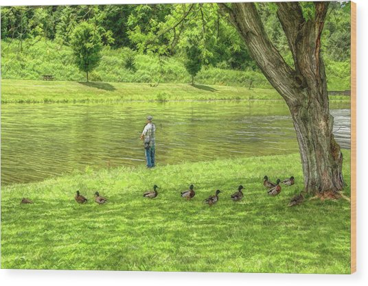 Fisherman Lazy Day At The Lake Wood Print by Randy Steele