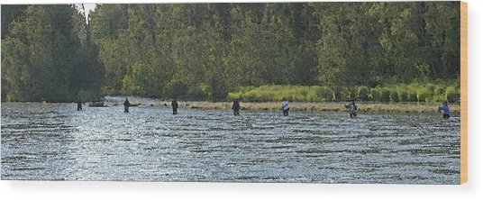 Fisherman Lineup Kenai River Wood Print by Mary Gaines