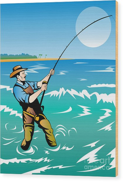 Fisherman Surf Casting Wood Print