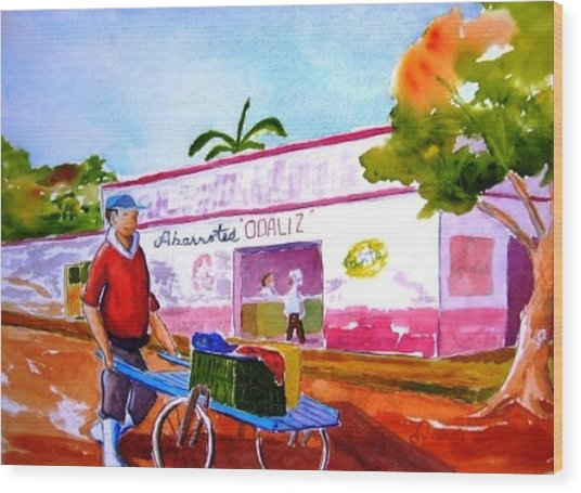 Fisherman With Bike Cart Wood Print by Buster Dight