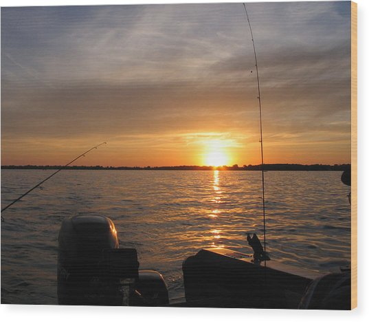 Fishermans Sunset Wood Print by Jack G  Brauer